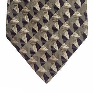Wilke Rodriguez Purple Cream Patterned Silk Tie